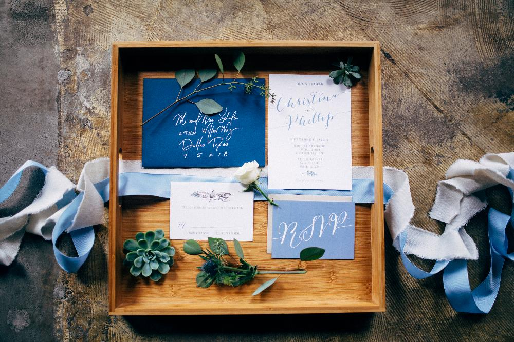 Navy, Earthy Greenery Succulents Calligraphy Wedding Invitation