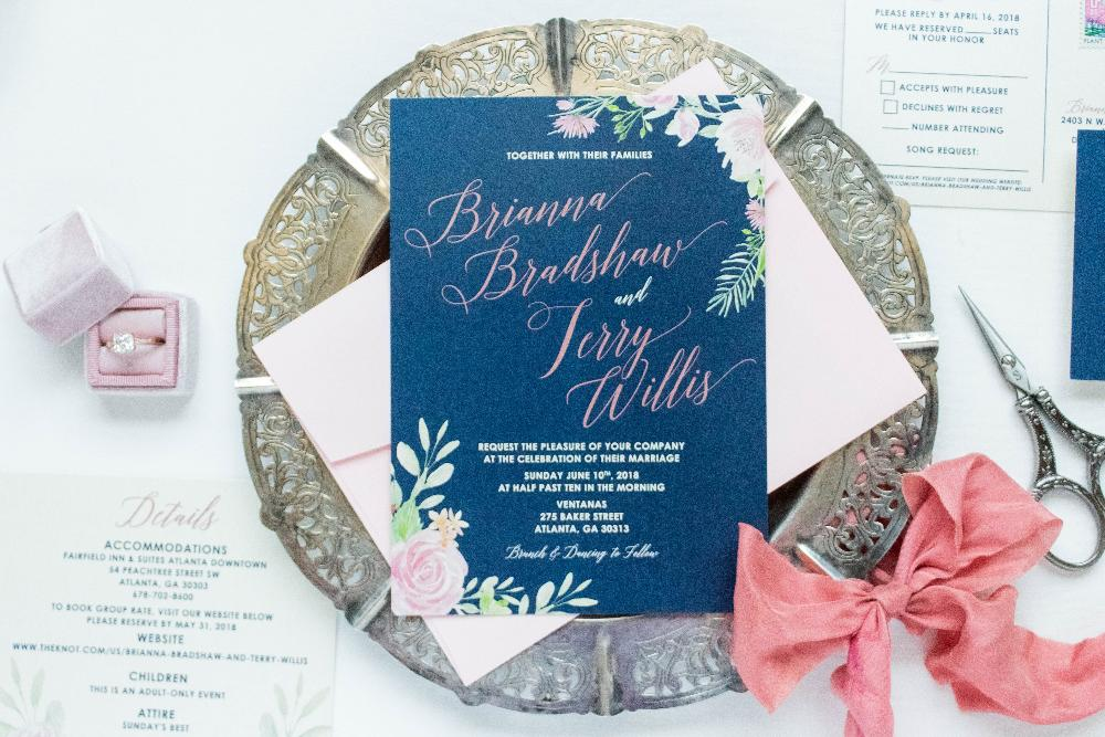 Navy Blue & Blush Rose Gold Floral Flowers Wedding Invitation with RSVP, Details and Envelope Liner