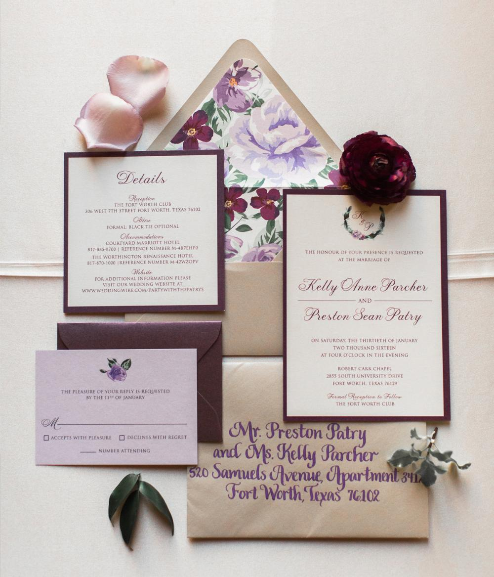 Purple Lavender Floral Wreath Monogram Wedding Invitation