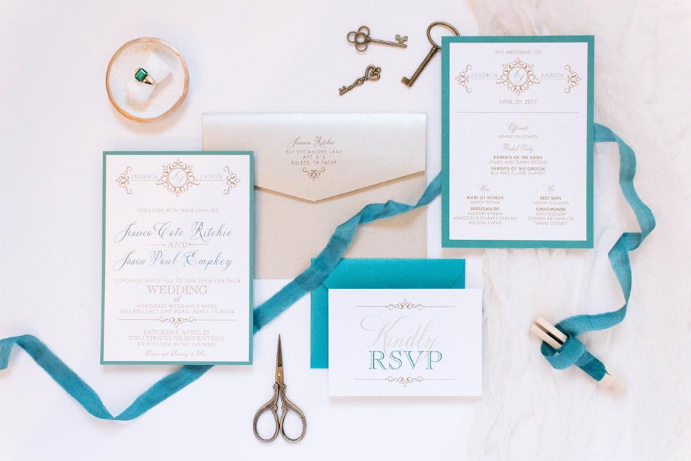 Jade Teal Blue Green Gold Formal Wedding Invitation