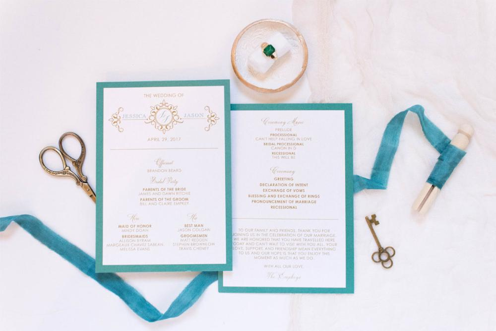 Jade, Teal & Gold Formal Monogram Wedding Program