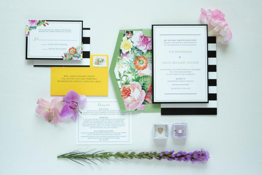 Kate Spade Inspired Bold Black & White Stripes Bright Florals in Pink, Purple and Yellow with RSVP, Envelope Liner