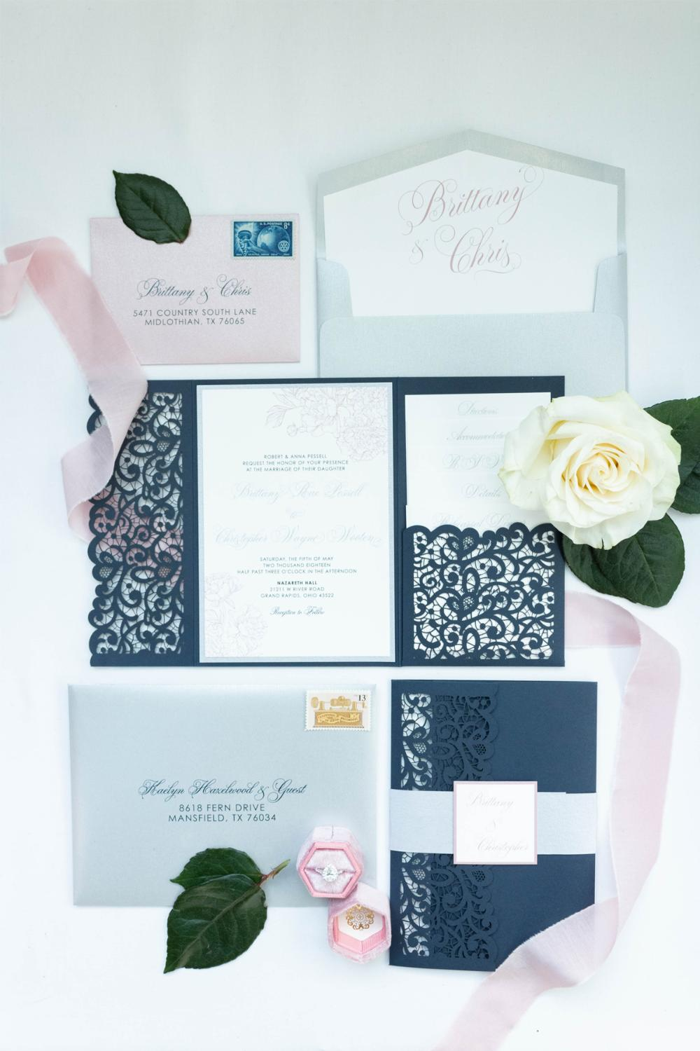Elegant Formal Navy Blue, Silver Glitter and Blush Lace Laser Cut Pocket Wedding Invitation, Belly Band & Inserts — Different Colors Options