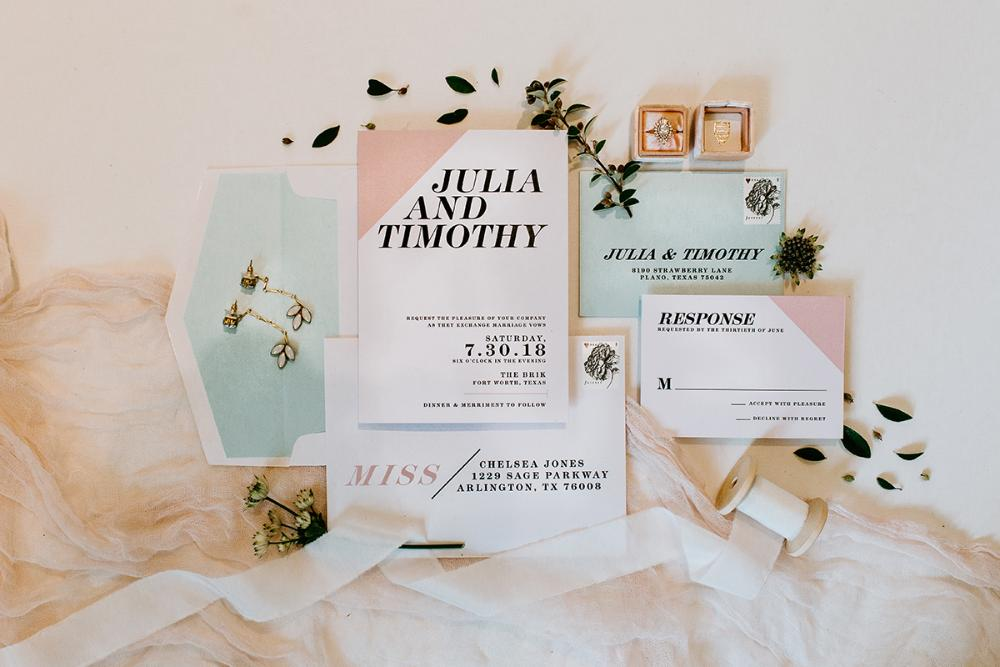Minimal Modern Simple Classic Black and White with Pink Blush and Blue Wedding Invitation, RSVP & Address Printing