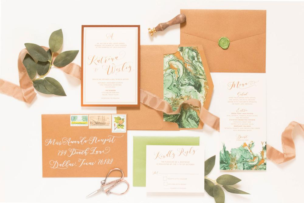Shades of Green & Copper Marble, Rose Gold and Ivory Wedding Invitation
