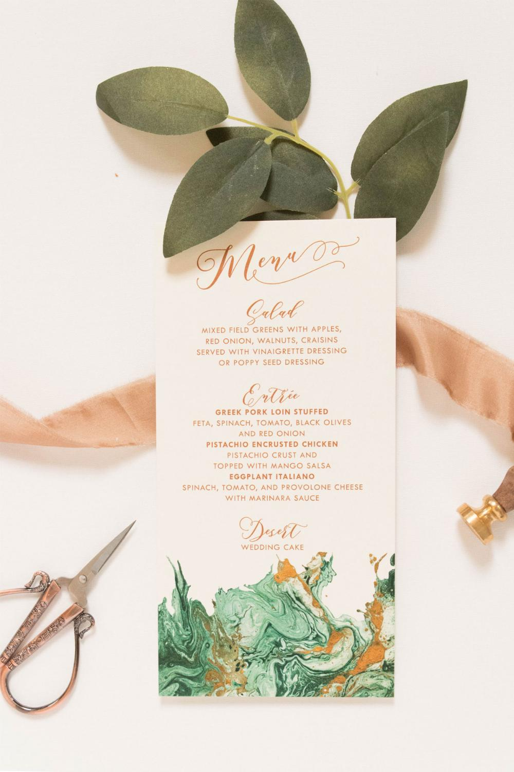 Marbled Watercolor Emerald Green & Copper Printed Wedding Menu