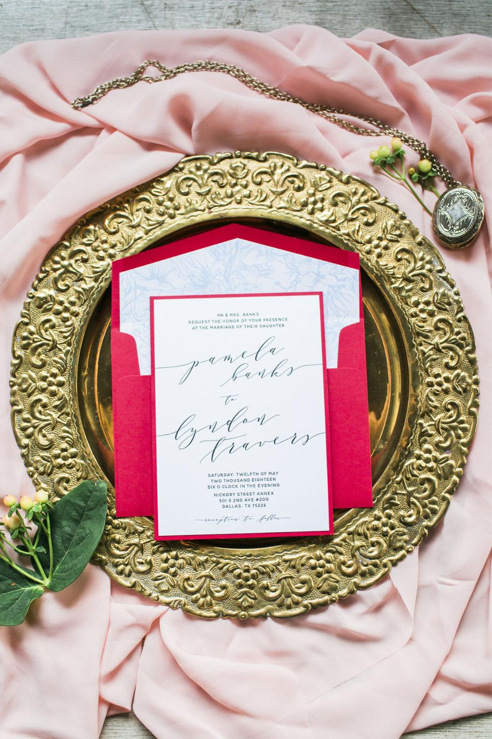Two Layer Red & Blue Romantic Floral Calligraphy Wedding Invitation