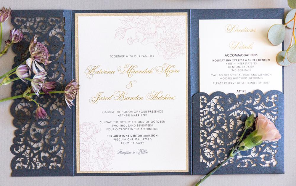 Elegant Formal Navy Blue, Gold Glitter and Blush Lace Laser Cut Pocket Wedding Invitation, Belly Band and Inserts