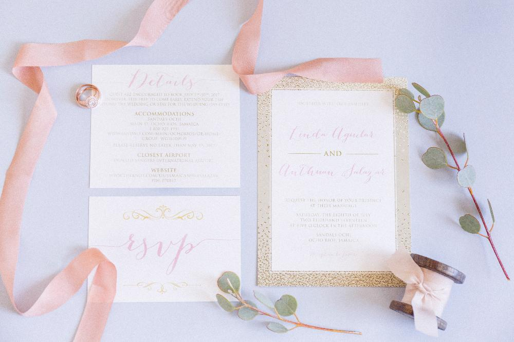 Gold and Blush Formal Wedding Invitation