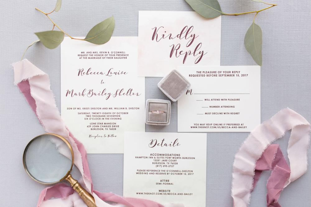 Mint Green, Pink Blush & Marsala Burgundy Thermography Water Color Wedding Invitation with Details and RSVP