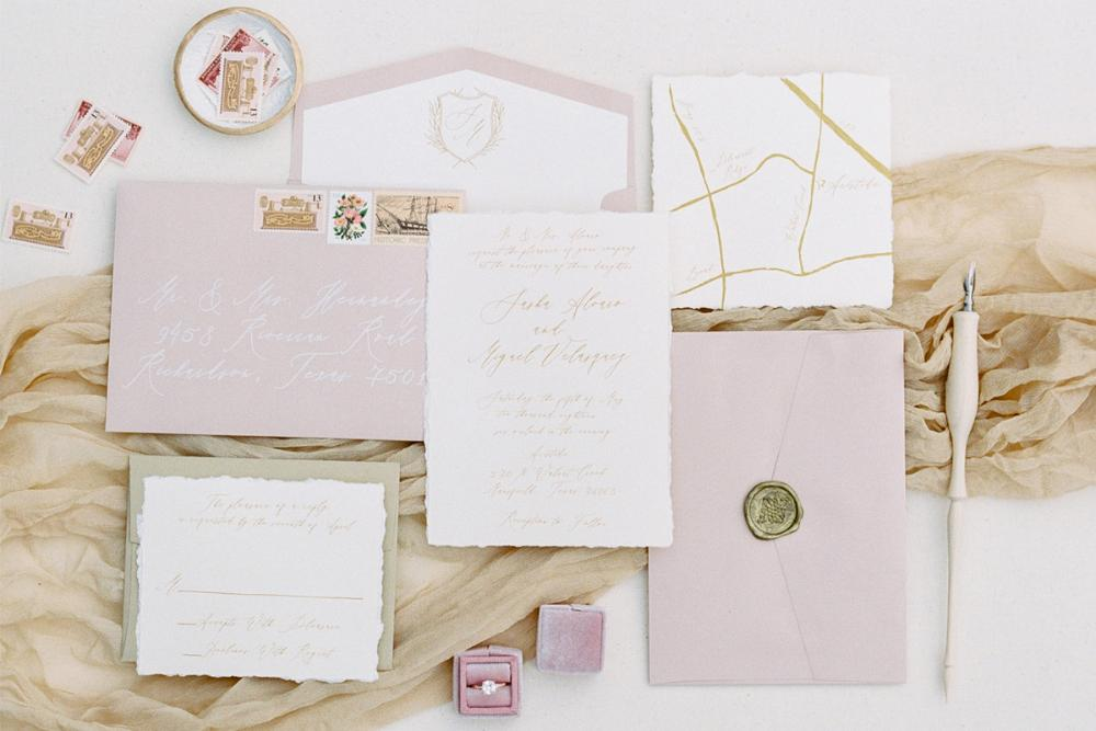 Calligraphy Monogram Crest in Gold, Ivory and Blush Pink Modern Wedding Invitation in — Custom Map, Envelope Liner, RSVP & Address Printing