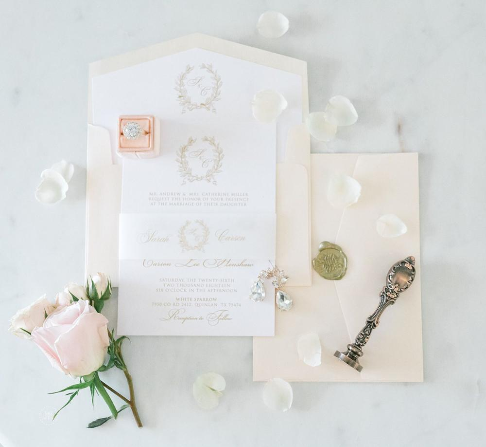 Soft Blush Pink & Monogram Traditional Formal Wedding Invitation in Gold and Blue with Vellum Band, Liner, and Guest Address