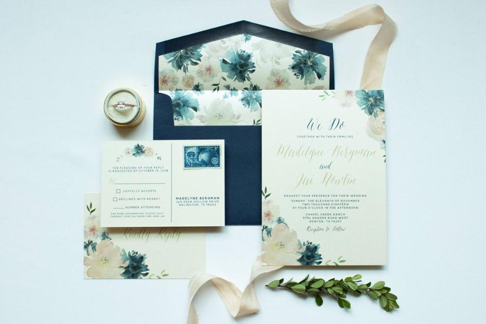 Blush Pink, Navy Blue Floral Calligraphy Wedding Invitation with Postcard RSVP and Envelope Liner