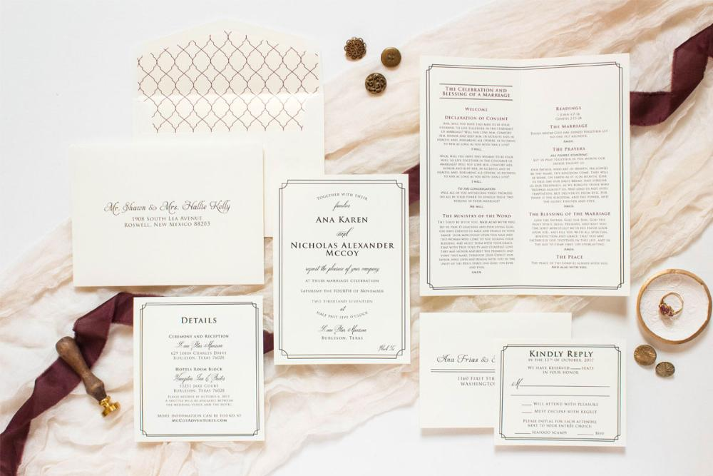 Classic Simple Formal Black Tie Wedding Invitation