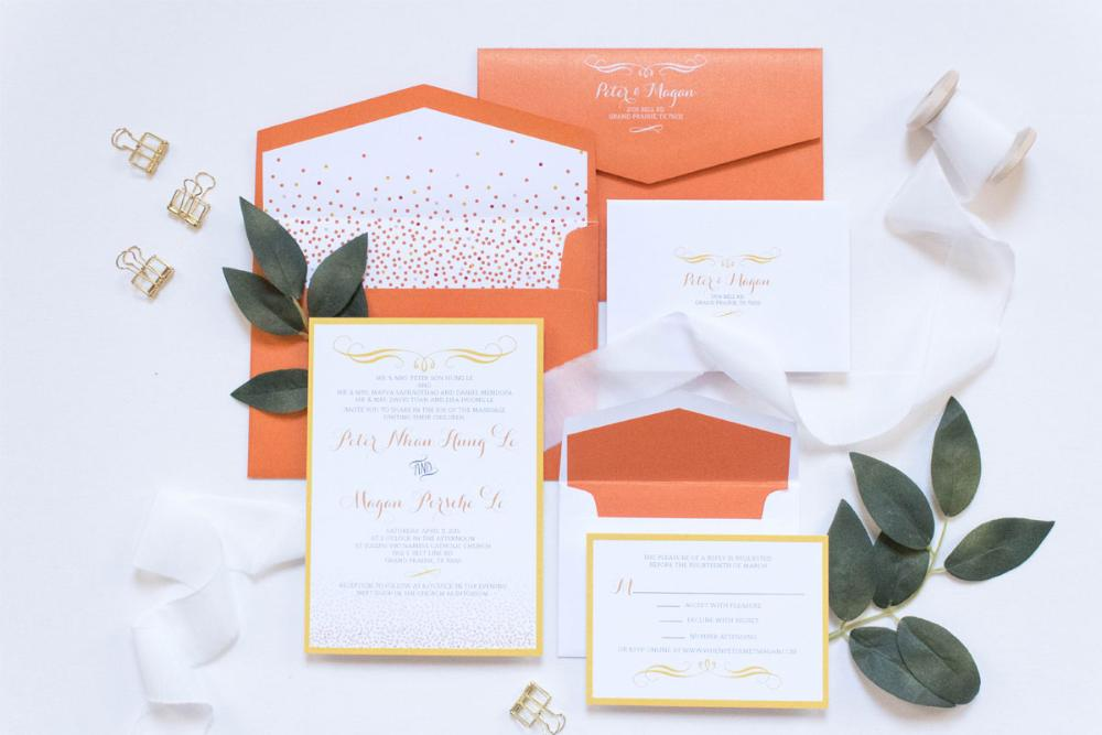 Orange and Yellow Confetti Wedding Invitation Includes Envelope Liner with RSVP