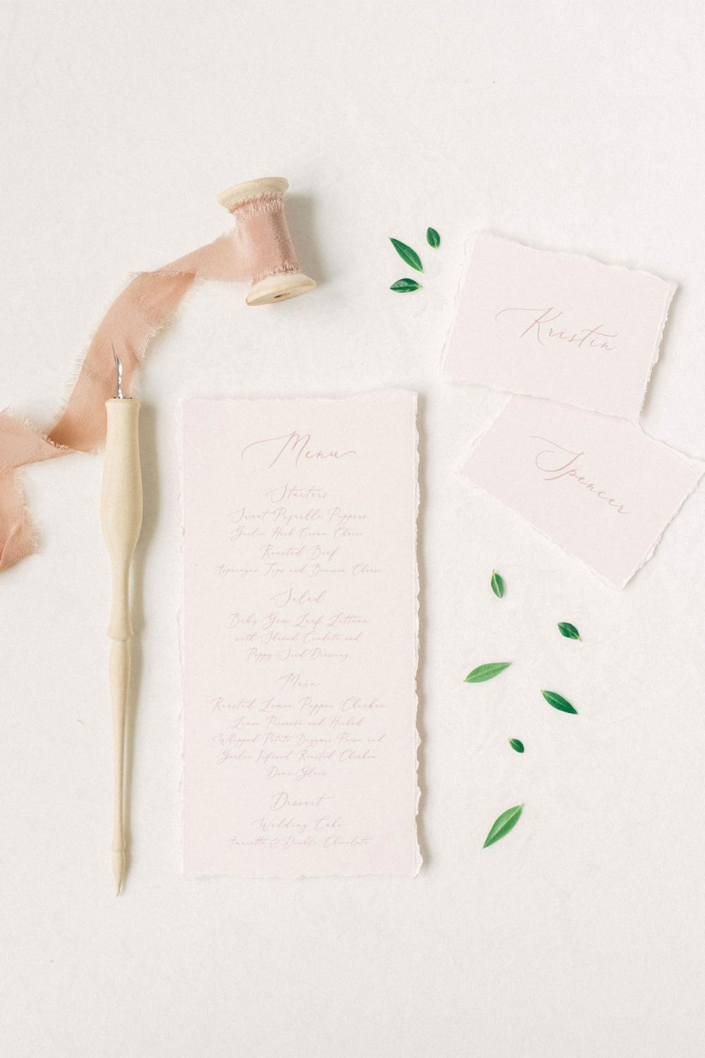 Pale Pink Wedding Menu with Ripped Edges, Delicate Calligraphy Script, Printed Menu