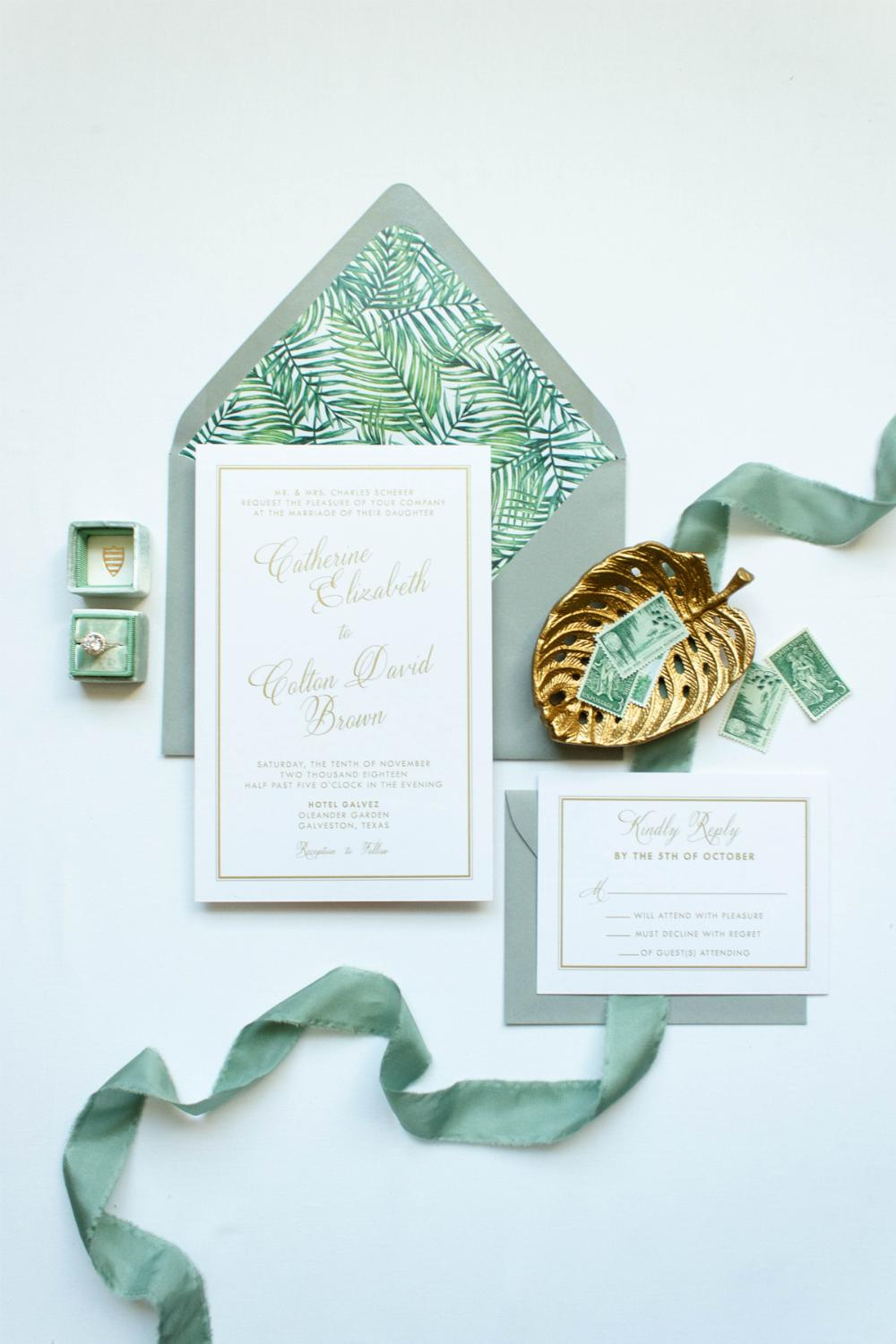 Tropical Beach Green Palm Tree Leaves in Classic Gold, White and Gray Wedding Invitation, RSVP & Address Printing