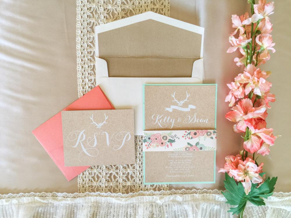 Layered Rustic Wedding Invitation with White Ink Printing on Cork in Mint, Coral & Wood Envelope Liner