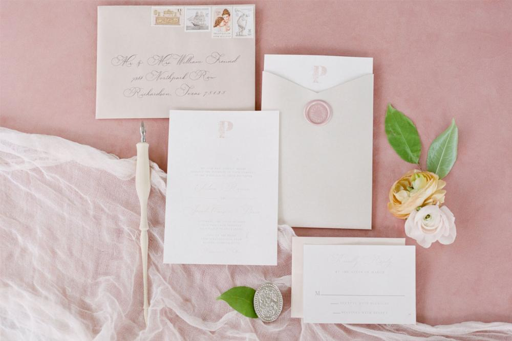 Modern Formal Wedding Invitation in Dusty Rose with Pocket, Floral Monogram and Blush Wax Seal