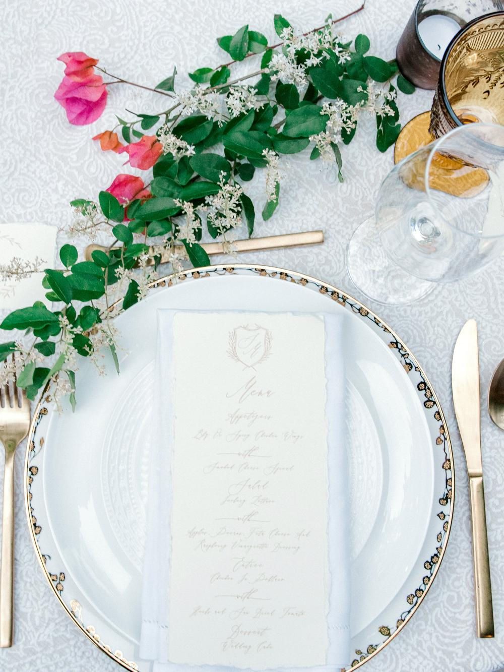 Calligraphy Monogram Crest Greenery Leaves Champagne Gold & Ivory Calligraphy Modern Printed Wedding Menu