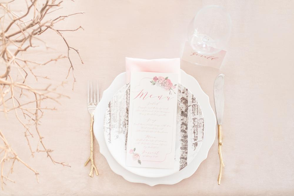 Rose Gold Calligraphy Watercolor Floral Wedding Menu in Blush Pink, Red & Burgundy