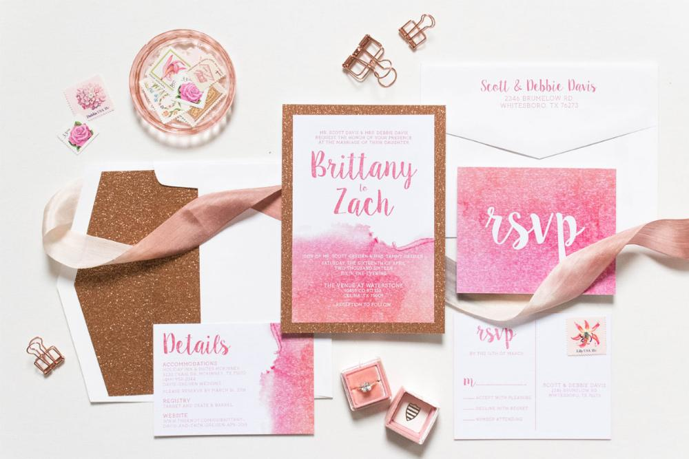 Modern Rose Gold Glitter and Water Color Wedding Invitation
