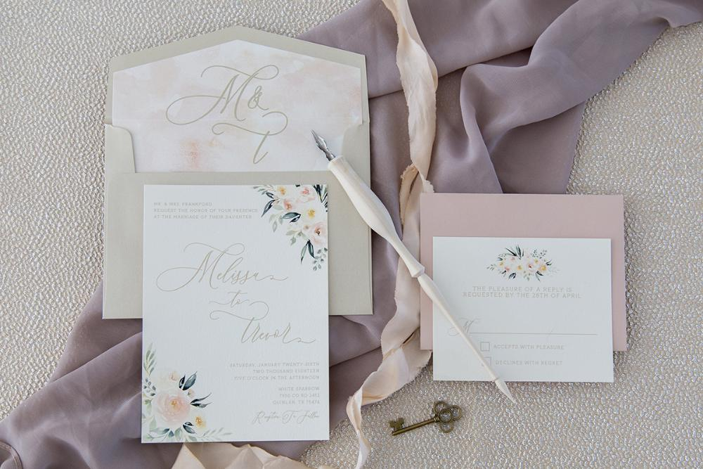 Blush Pink & Floral Wedding Invitation in Gold and Neutral Beige with RSVP, Envelope Liner, and Guest Address - Other Colors Available