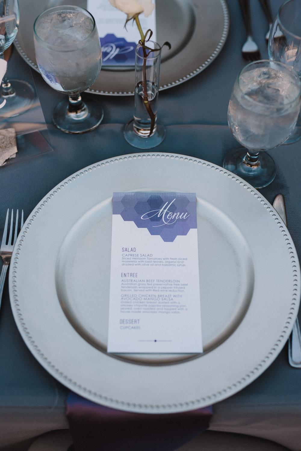 Grey and Purple Geometric Wedding Menu