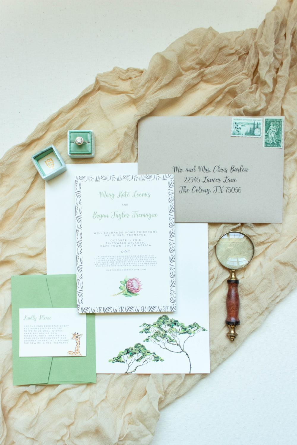 Africa African Safari Protea Sahara Jungle Wedding Invitation Green, Ivory and Brown w/RSVP, Details & Stationery
