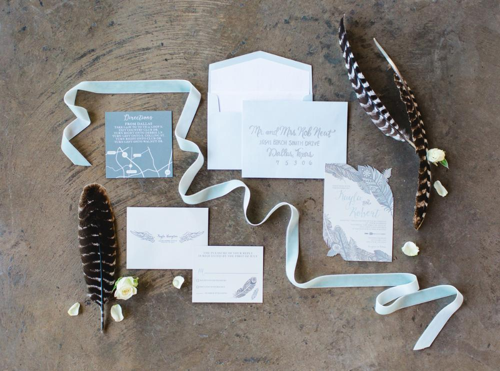 Pale Blue and Grey Die Cut Boho Feathers Navajo Wedding Invitation