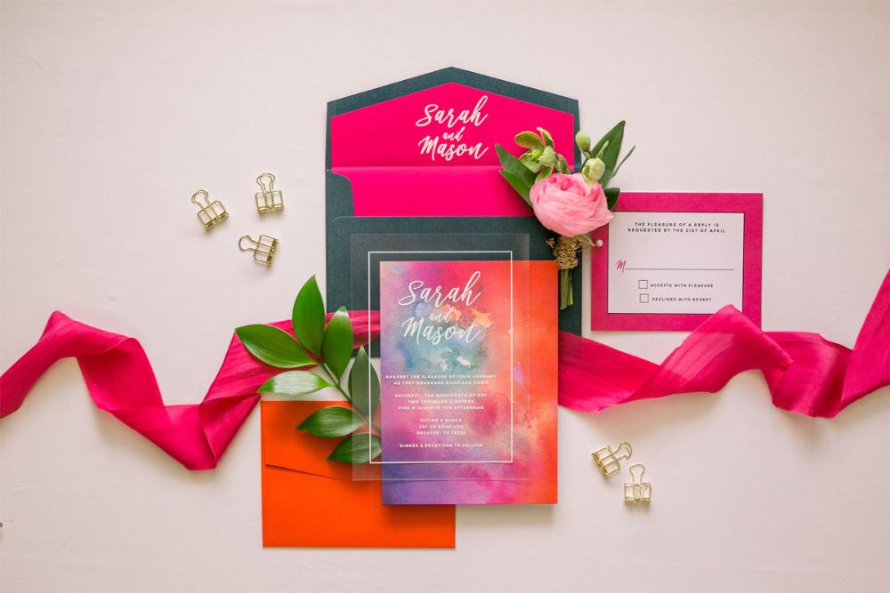 Modern White Ink Wedding Invitation on Crystal Clear Film Transparent Like Acrylic with Bright Colorful Water Color