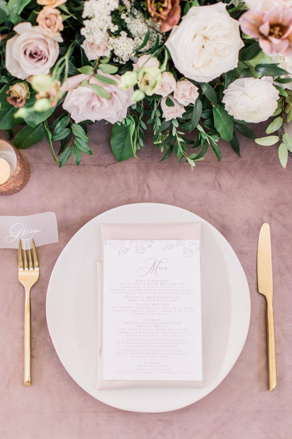 Blush Pink & White Floral Wedding Menu with Simple Modern Calligraphy Script