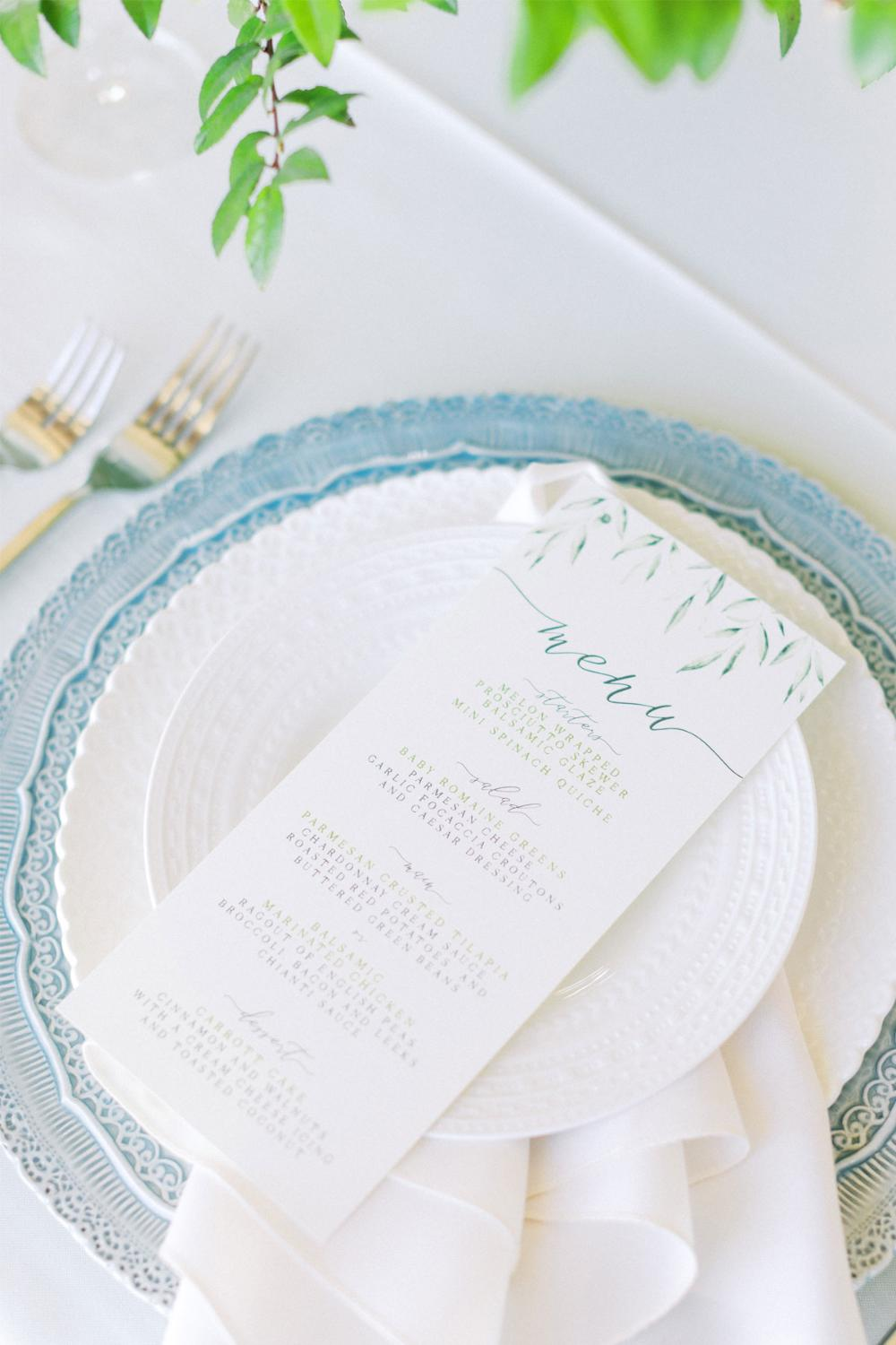 Greenery Leaves Wedding Menu for Place Setting in Green and Grey with Calligraphy