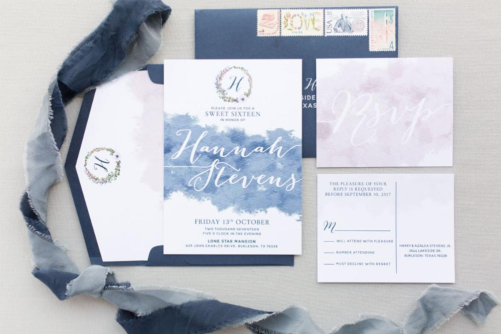 Water Color Navy Blue and Blush Floral Wreath Monogram Invitation