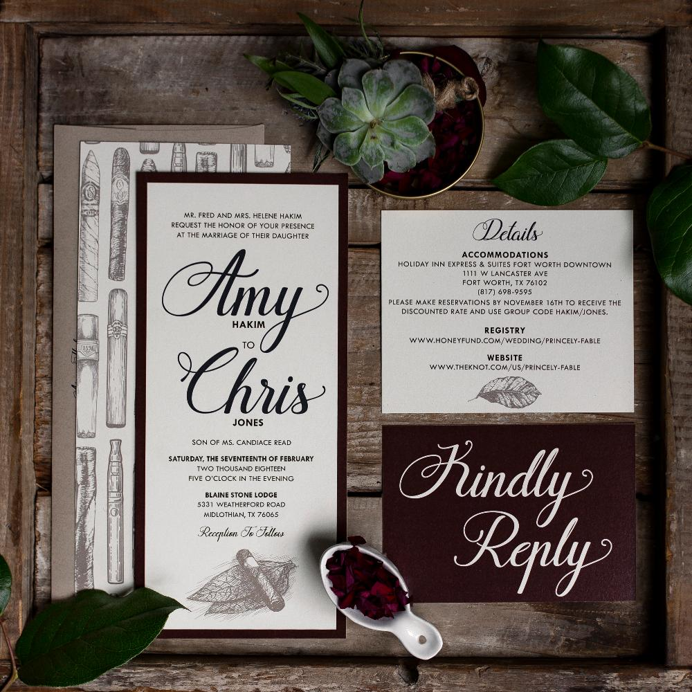 4x9 Cigar Tobacco Burgundy, Brown and Navy Wedding Invitation with Kraft Paper Envelope, RSVP
