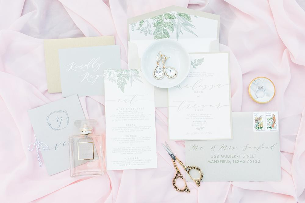 Greenery Leaves Wedding Invitation in Gold, Green and Neutral Beige with RSVP, Envelope Liner, and Guest Address