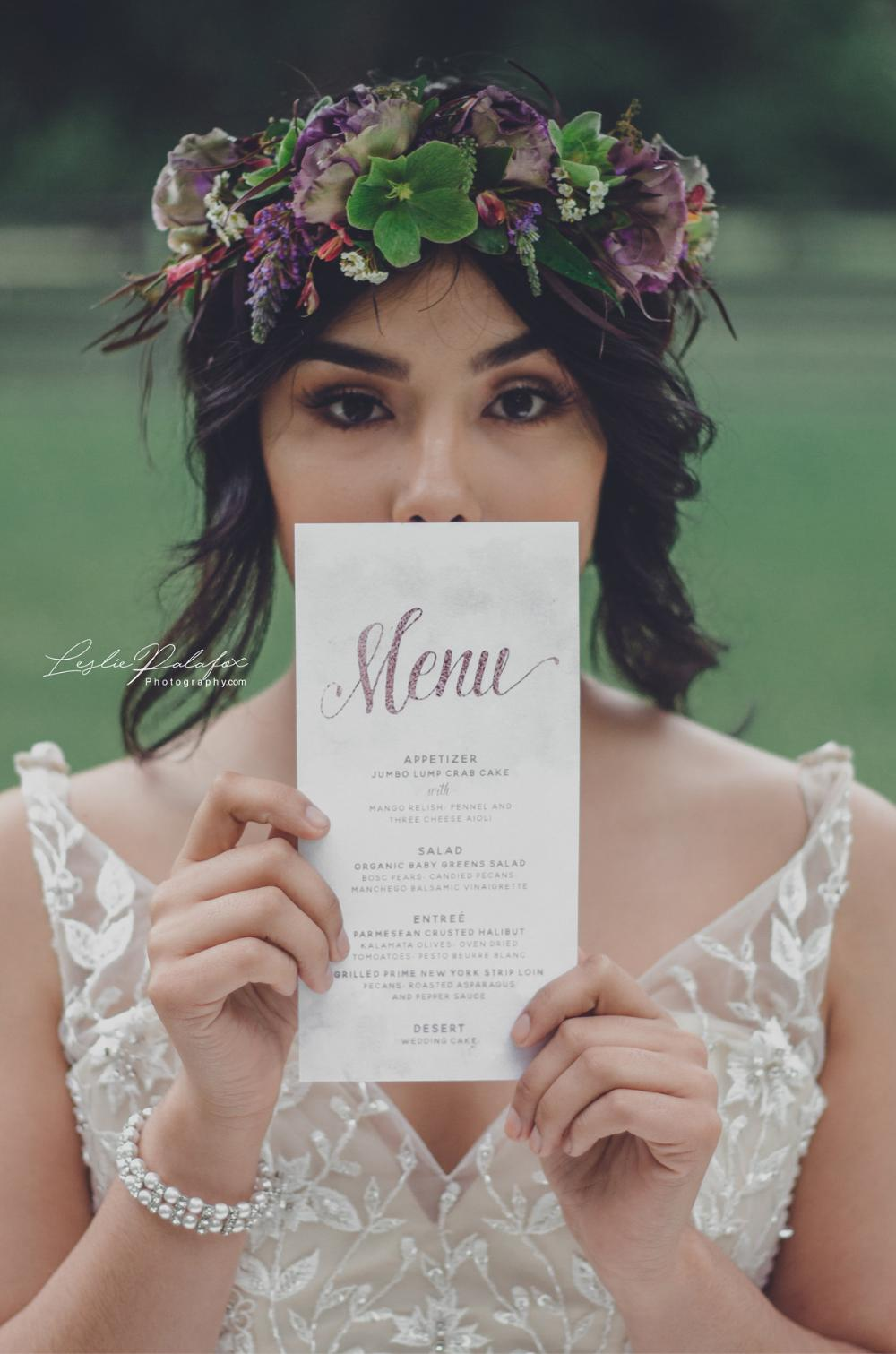 Mint and Pink Blush Water Color Wedding Menu