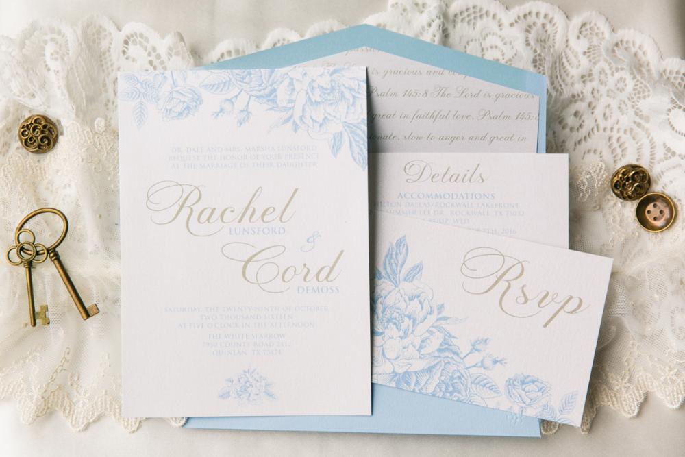 Light Blue and Champagne Gold Airy Floral Wedding Invitation