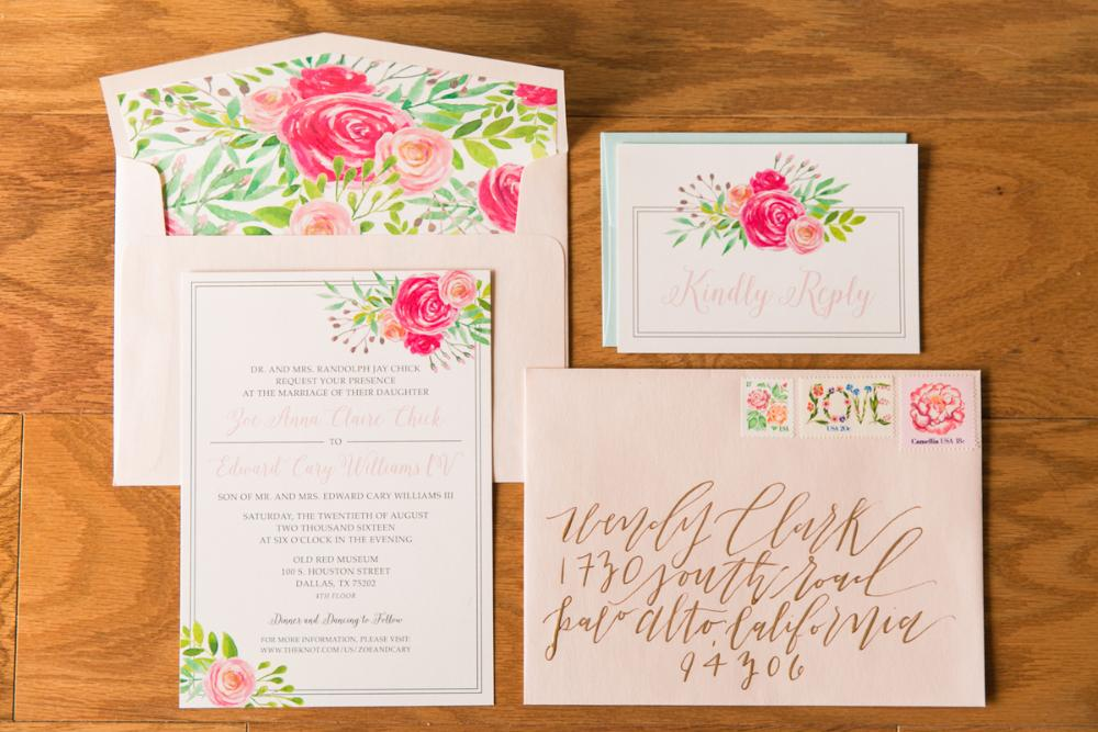 Pink Blush Garden Floral Water Color Wedding Invitation