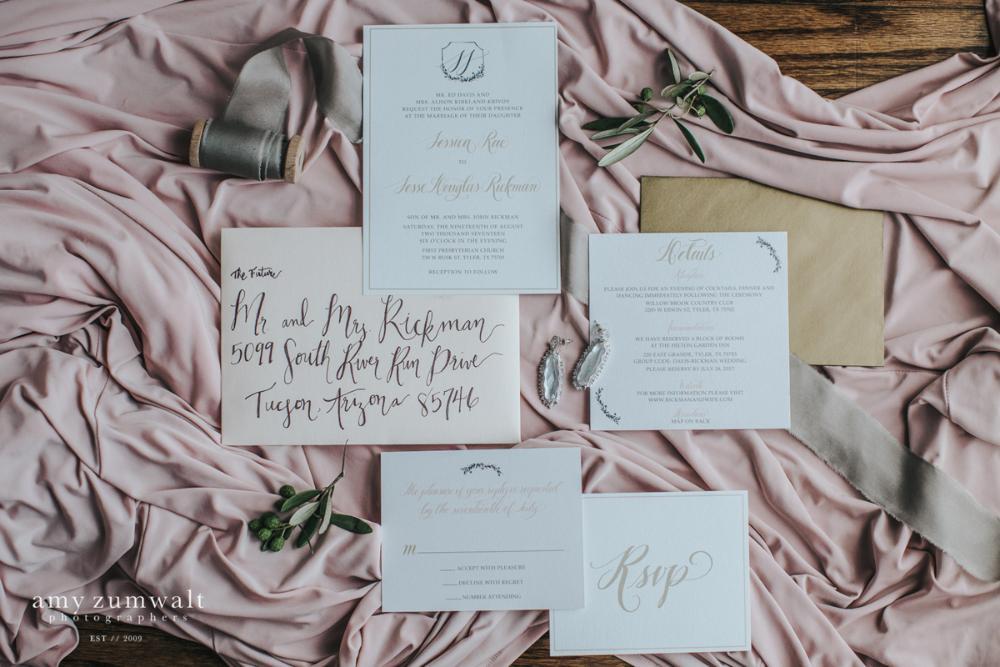 Blush, Grey & Gold Monogram Calligraphy Wedding Invitation