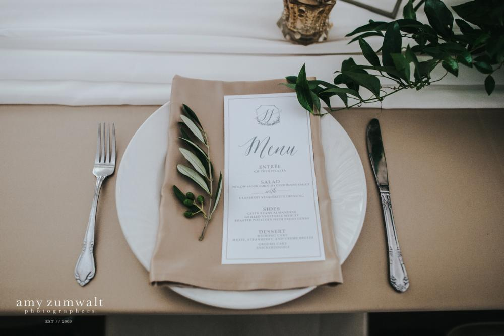 Blush, Gold and Grey Calligraphy Monogram Wedding Menu