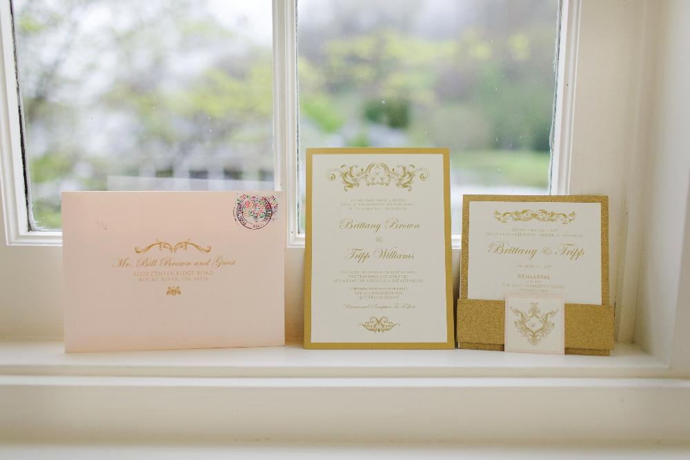 Traditional Formal Vintage Gold Glitter and Pink Blush Rose Wedding Invitation