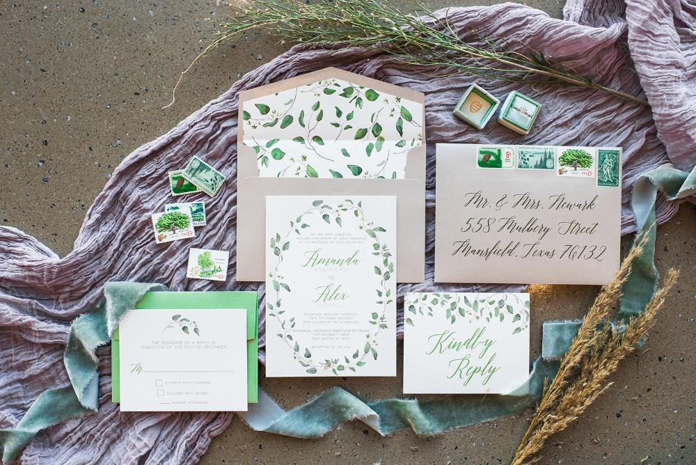 Neutral Beige, Ivory Greenery Leaves Wedding Invitation with RSVP, Envelope Liner, Calligraphy Guest Address