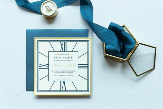 Square New Year's Eve Clock Wedding Save the Date in Navy and Gold with Envelopes